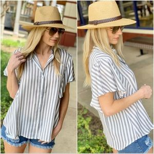 Gray striped flutter sleeve button up top